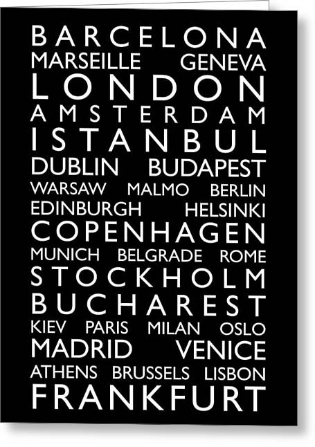 European Cities Greeting Cards - Europe Cities Bus Roll Greeting Card by Michael Tompsett