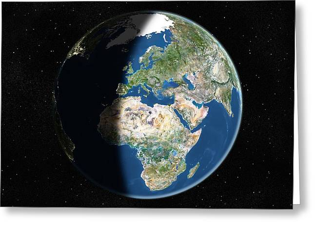 Light Pollution Greeting Cards - Europe, Satellite Image Greeting Card by Planetobserver