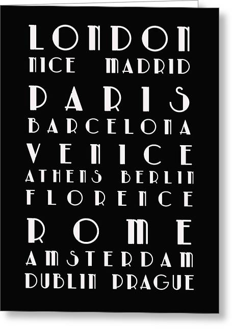 Bus Roll Greeting Cards - European Cities - Bus Roll Greeting Card by Nomad Art And  Design