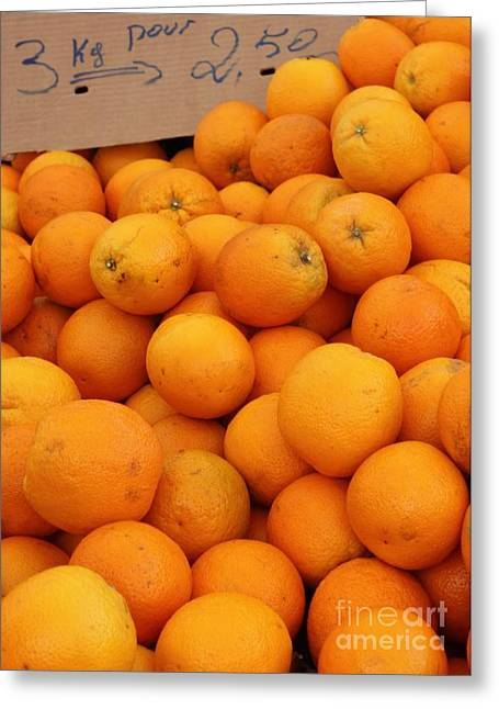 European Markets Greeting Cards - European Markets - Oranges Greeting Card by Carol Groenen
