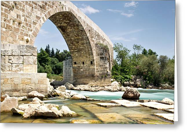 Wedding Photo Greeting Cards - Eurymedon Bridge Aspendos Arch Greeting Card by Chris Frost