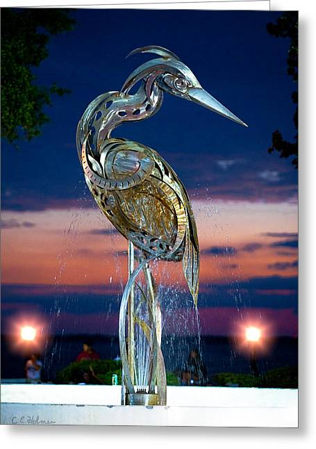Stainless Steel Greeting Cards - Eustis Egret Fountain Greeting Card by Christopher Holmes