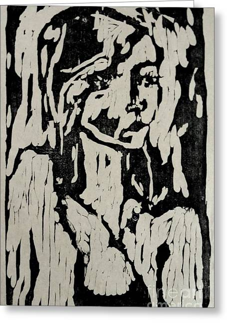 Printmaking Reliefs Greeting Cards - Eva Greeting Card by Preston -
