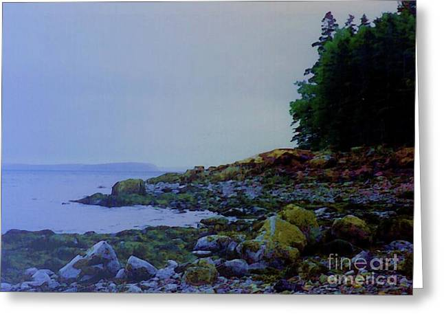 Maine Shore Mixed Media Greeting Cards - Eve At the Mount Greeting Card by Desiree Paquette