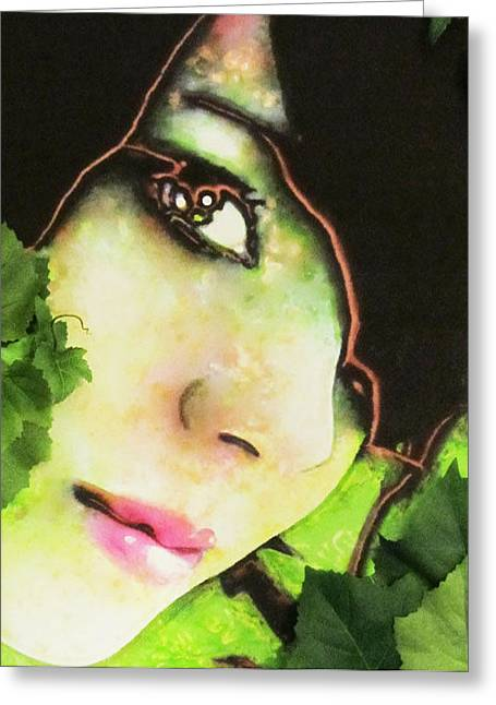 Vine Leaves Mixed Media Greeting Cards - Eve Connected To The Vine Greeting Card by Linda Harris-Iorio