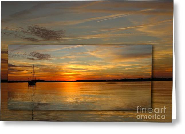 Orange Sky Greeting Cards - Eve Ning Greeting Card by Judee Stalmack