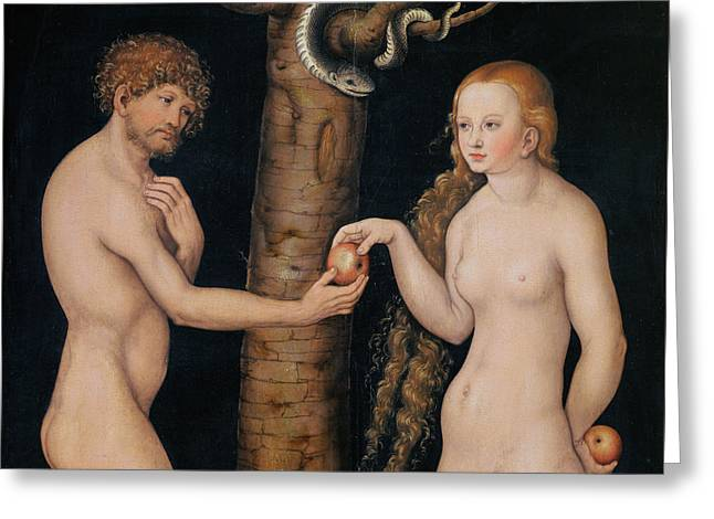 Sinner Greeting Cards - Eve Offering The Apple to Adam In The Garden of Eden Greeting Card by The Elder Lucas Cranach