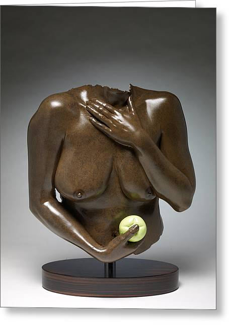 Nude Sculptures Sculptures Greeting Cards - Eve with Green Apple Greeting Card by Wayne Berger