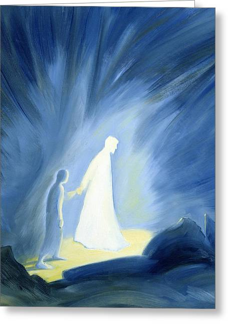 Messiah Greeting Cards - Even in the darkness of out sufferings Jesus is close to us Greeting Card by Elizabeth Wang