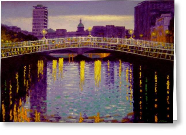 Liffey Greeting Cards - Evening - Ha Penny Bridge- Dublin Greeting Card by John  Nolan