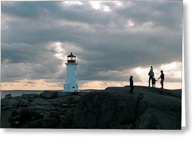 Evening at Peggy's Cove Greeting Card by John G Schickler
