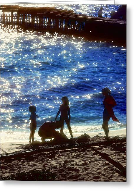 Sand Castles Greeting Cards - Evening At The Beach Greeting Card by Stephen Anderson