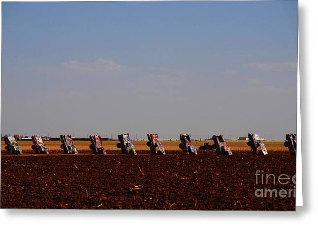 Evening At The Cadillac Ranch On Route-66 Tx Greeting Card by Susanne Van Hulst