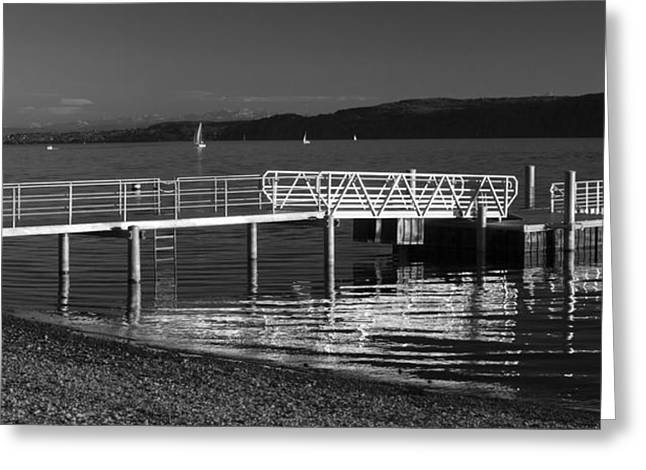 Landing Stage Greeting Cards - Evening at the lake Greeting Card by Marc Huebner