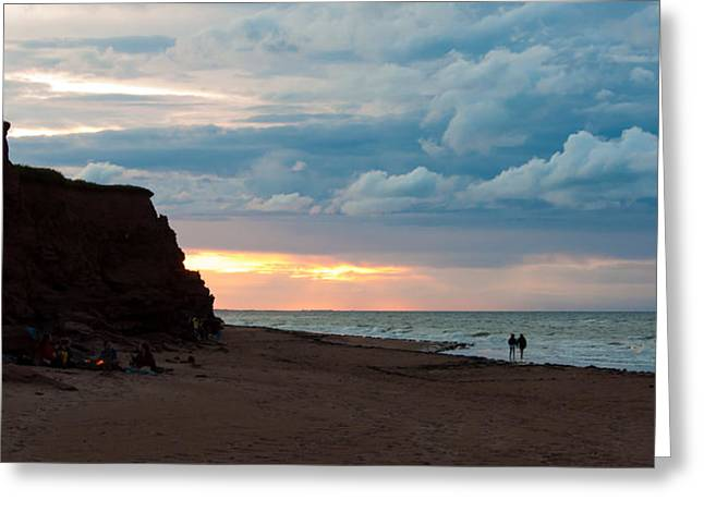 Storm On The Beach Greeting Cards - Evening Beach Scene Greeting Card by Matt Dobson