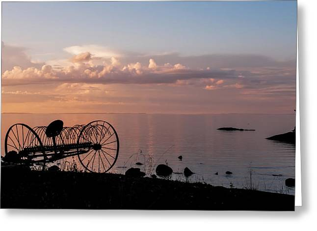 Spa Center Greeting Cards - Evening Bell. Sunset on Valaam Island. Northern Russia Greeting Card by Jenny Rainbow