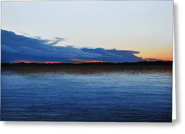 Canoe Paintings Greeting Cards - Evening Calm II Greeting Card by Kenneth M  Kirsch