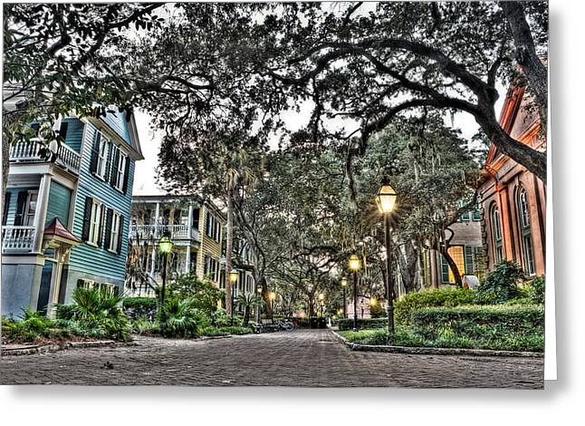 Evening Campus Stroll Greeting Card by Andrew Crispi
