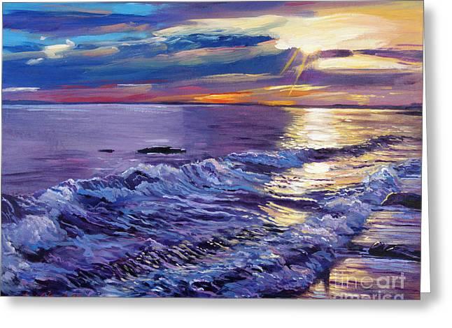 Ocean Landscape Greeting Cards - Evening Coastline Greeting Card by David Lloyd Glover