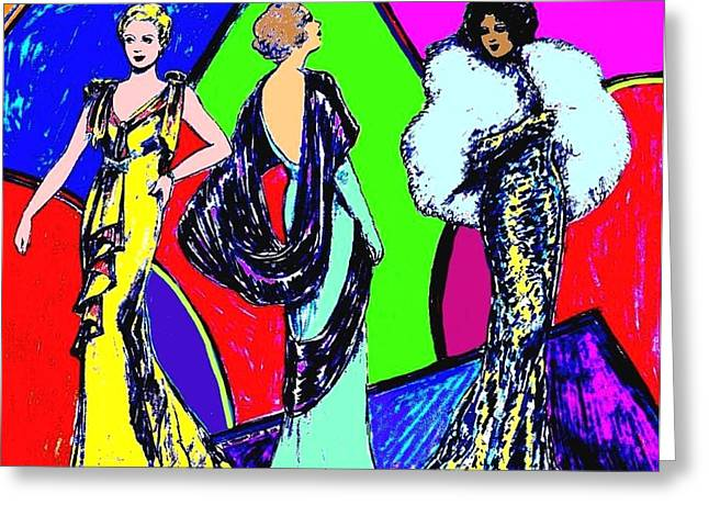 Sequin Drawings Greeting Cards - Evening Dresses Greeting Card by Mel Thompson