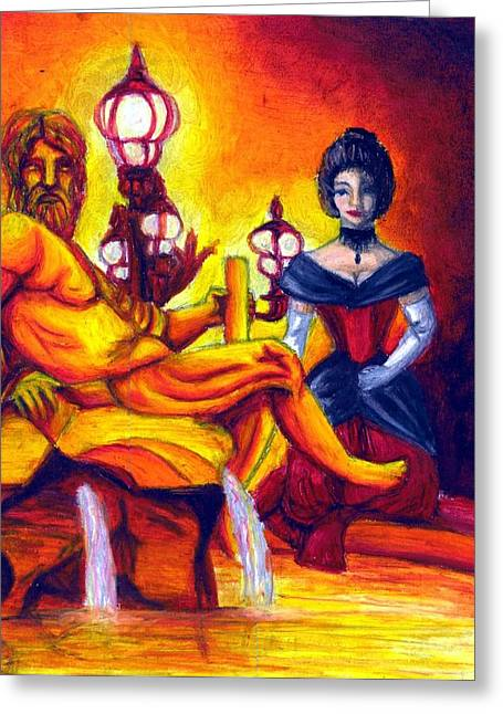 Night Lamp Drawings Greeting Cards - Evening Fire Greeting Card by Scarlett Royal