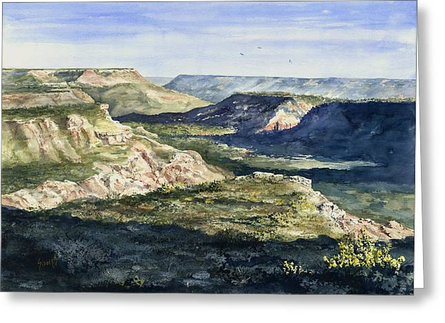 Canyons Paintings Greeting Cards - Evening Flight Over Palo Duro Canyon Greeting Card by Sam Sidders