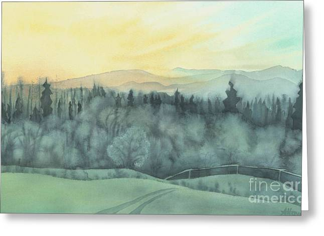 Watercolor Skiing Print Greeting Cards - Evening Frost Greeting Card by Anne Havard