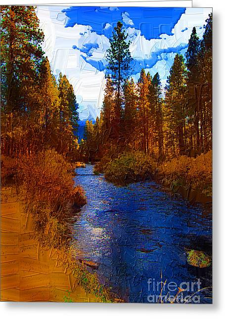 Rainbow Trout Digital Art Greeting Cards - Evening Hatch on the Metolius Painting Greeting Card by Diane E Berry