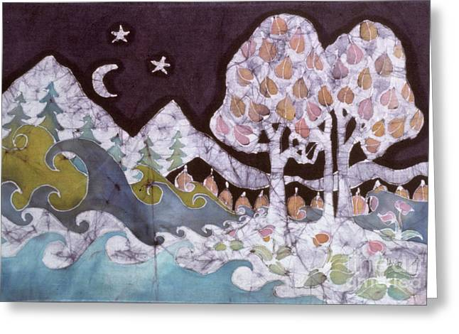 Star Pattern Tapestries - Textiles Greeting Cards - Evening in a Gentle Place Greeting Card by Carol Law Conklin