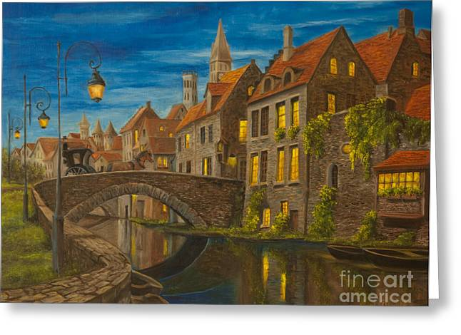 Bruges Greeting Cards - Evening in Brugge Greeting Card by Charlotte Blanchard