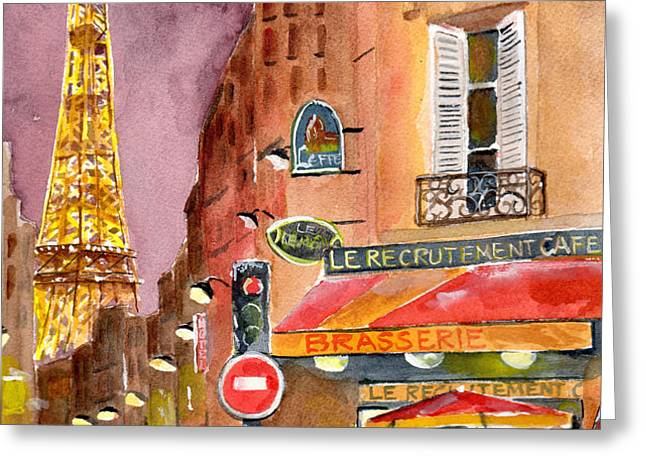 Evening in Paris Greeting Card by Sheryl Heatherly Hawkins