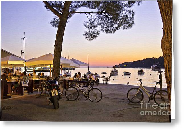Night Cafe Greeting Cards - Evening in Rovinj Greeting Card by Madeline Ellis