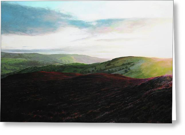 Evening Landscape Towards Llangollen Greeting Card by Harry Robertson