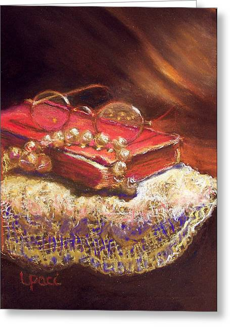 Beaded Pastels Greeting Cards - Evening Greeting Card by Laurie Paci