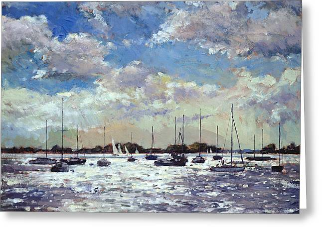 Blue Sailboat Greeting Cards - Evening Light - Gulf of Morbihan Greeting Card by Christopher Glanville