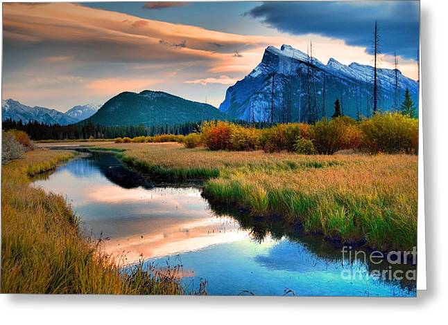 Rundle Greeting Cards - Evening Light and Autumn in Banff Greeting Card by Tara Turner