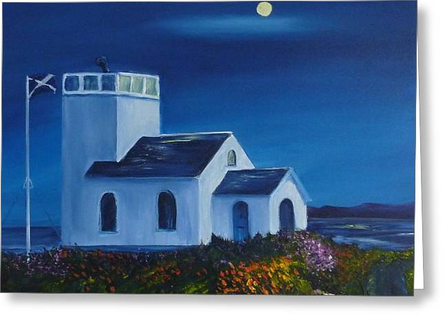 Sea Moon Full Moon Greeting Cards - Evening Light at Toward Point Greeting Card by Margaret Denholm