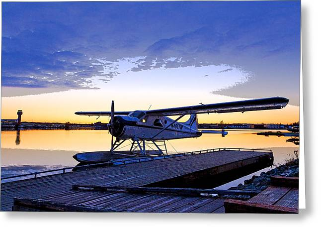 Traffic Control Greeting Cards - Evening Light on a DeHavilland Beaver- Abstract Greeting Card by Tim Grams