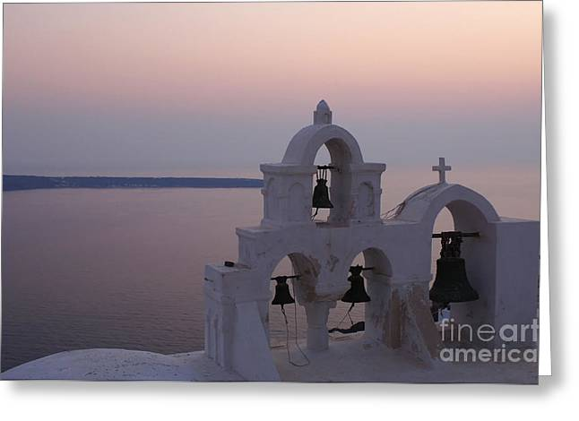 On The Edge Greeting Cards - Santorini Greece Evening Light  Greeting Card by Bob Christopher