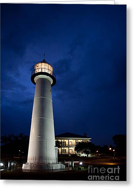 Biloxi Greeting Cards - Evening Lighthouse Greeting Card by Joan McCool