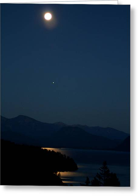 Lake Pend Oreille Greeting Cards - Evening Moon Greeting Card by Donna Duckworth
