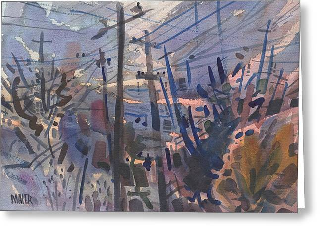 Telephone Poles Greeting Cards - Evening on Canton Road Greeting Card by Donald Maier