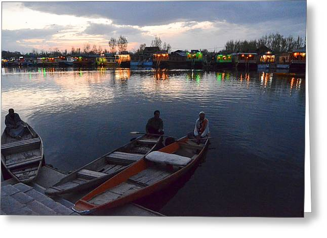 Dal Lake Greeting Cards - Evening on Dal Lake Greeting Card by Fotosas Photography