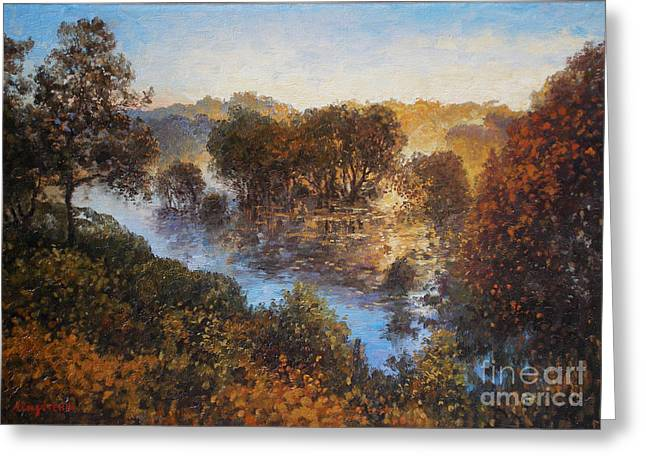 Sky Greeting Cards - Evening on the river Greeting Card by Andrey Soldatenko