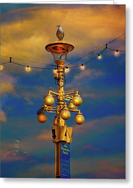 Evening Lights Digital Art Greeting Cards - Evening On The Seafront In Eastbourne Greeting Card by Chris Lord