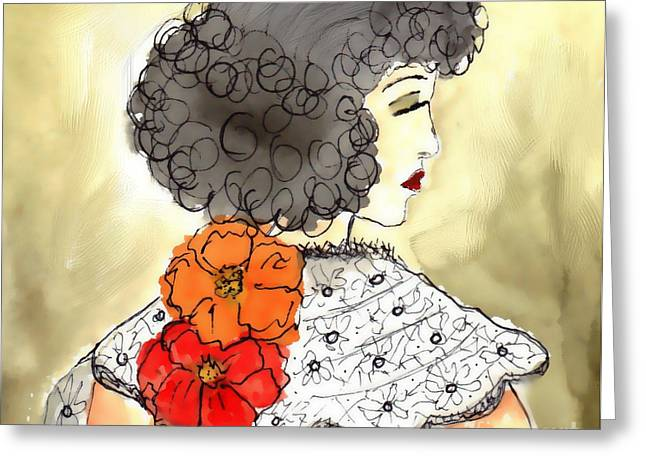 Evening Dress Mixed Media Greeting Cards - Evening Out Greeting Card by Mira Dimitrijevic