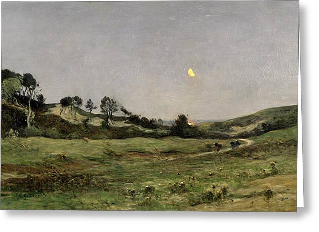 1843 Greeting Cards - Evening over the Dunes of Equihen Greeting Card by Jean Baptiste-Antoine Guillemet