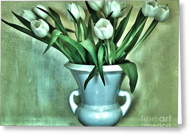 Evening Party Tulips Greeting Card by Marsha Heiken