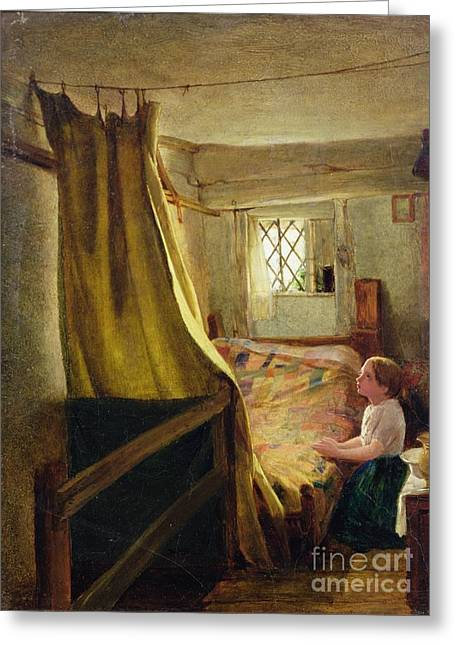 Boy Praying Greeting Cards - Evening Prayer  Greeting Card by John Bagnold Burgess