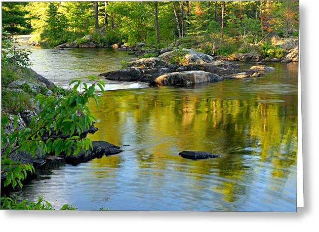 Green Canoe Greeting Cards - Evening Reflections at Lower Basswood Falls Greeting Card by Larry Ricker